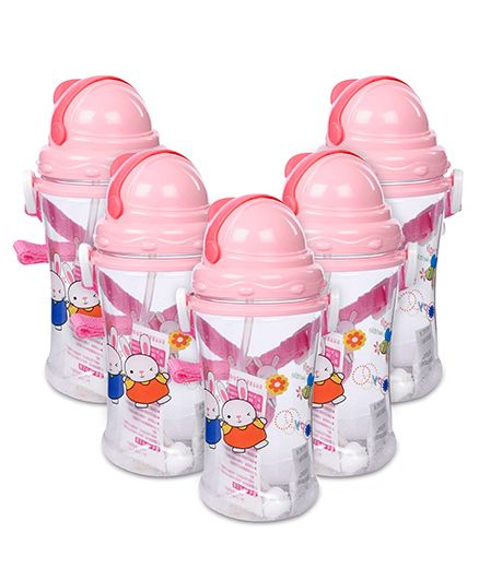 Sipper Water Bottle Rabbit Design 400 ml - Pink -Pack of 5