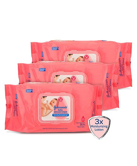 Johnsons baby Skincare Wipes - 80 Pieces Pack of 3