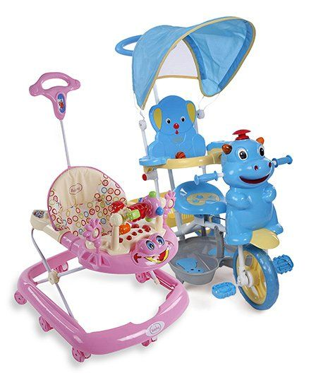Babyhug Happy Hippo Tricycle With Canopy - Blue And Babyhug First Walk Musical Baby Walker - Pink