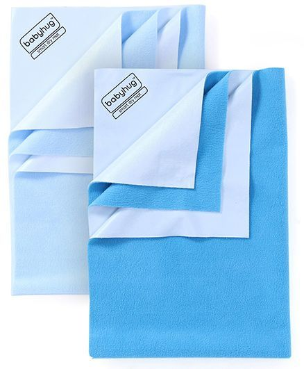 Babyhug Smart Dry Bed Protector Sheet Small - Sky Blue AND Babyhug Smart Dry Bed Protector Sheet Medium - Feeroju