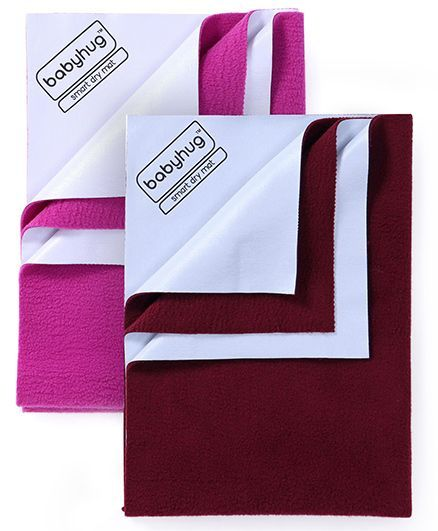 Babyhug Smart Dry Bed Protector Sheet Small - Orchid AND Babyhug Smart Dry Bed Protector Sheet Medium - Maroon