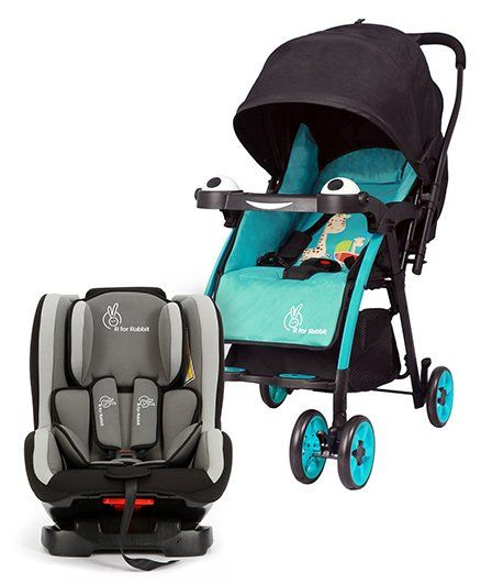 R for Rabbit Poppins An Ideal Pram For Moms - Blue & Black AND R for Rabbit Jack N Jill Convertible Car Seat