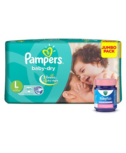 Pampers Baby Dry Diapers Large - 60 Pieces & Vicks BabyRub Soothing Vapor Ointment For Babies - 50 ml