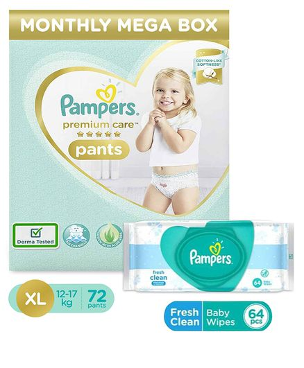 Pampers Premium Care Pant Style Diapers Extra Large Monthly Pack - 72 Pieces & Pampers Fresh Clean Baby Wipes - 64 Pieces