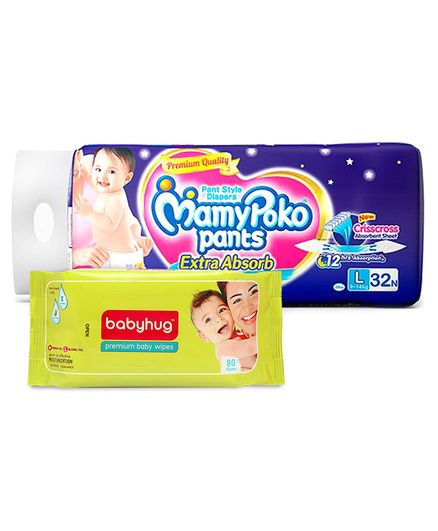 MamyPoko Extra Absorb Pant Style Diapers Large - 32 Pieces & Babyhug Premium Baby Wipes - 80 Pieces