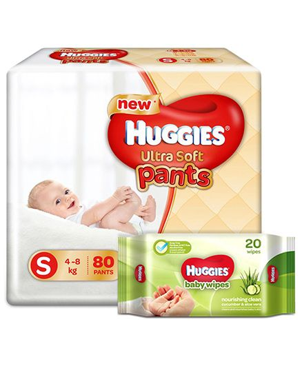 Huggies Ultra Soft Small Size Diaper Pants - 80 Pieces & Huggies Nourishing Clean Baby Wipes with Cucmber & Aloe Vera - 20 Pieces