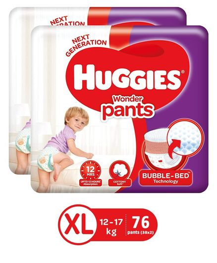 Huggies Wonder Pants Extra Large Size Pant Style Diapers - 38 Pieces (Pack of 2)