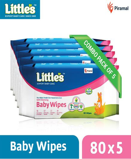Little's Soft Cleansing Baby Wipes - 80 Pieces - Pack of 5