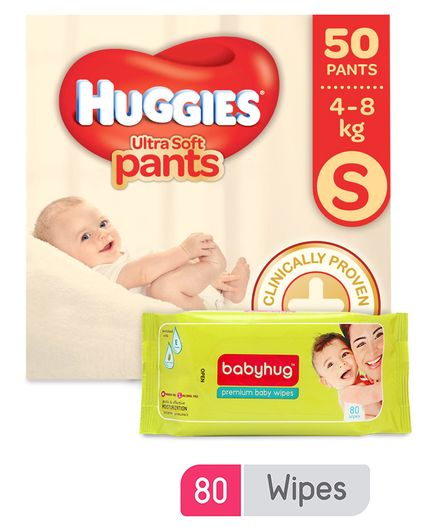 Huggies Ultra Soft Small Size Diaper Pants - 50 Pieces & Babyhug Premium Baby Wipes - 80 Pieces