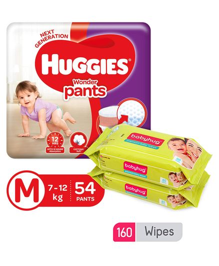 Huggies Wonder Pants Medium Size Pant Style Diapers - 54 Pieces & Babyhug Premium Baby Wipes - 80 Pieces (Pack of 2)