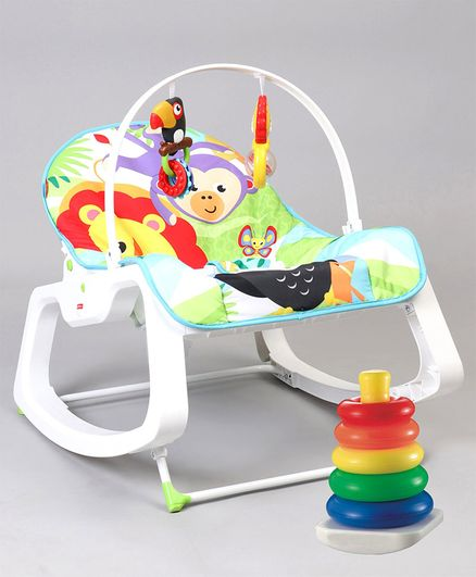 Fisher Price Infant To Toddler Rocker Animal Design - Green & Fisher Price Rock A Stack - Multi Color