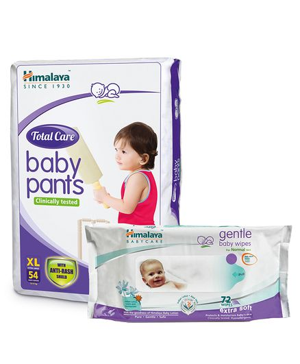 Himalaya Herbal Total Care Baby Pants Style Diapers Extra Large - 54 Pieces &  Baby Wipes - 72 Pieces