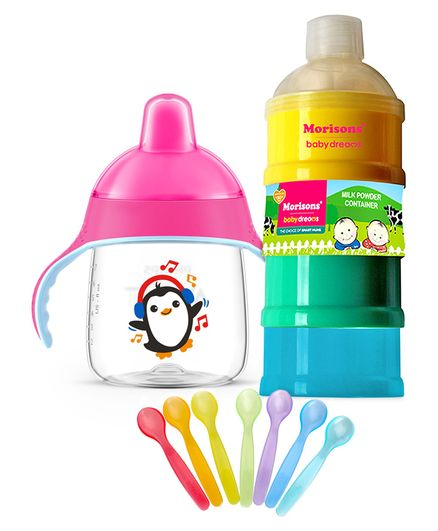 Farlin Color Magic Feeding Spoon - Set of 7 , Morisons Baby Dreams Milk Powder Container - 400 ml & Avent Premium Spout Cup 260 ml Pink (Design May Vary)