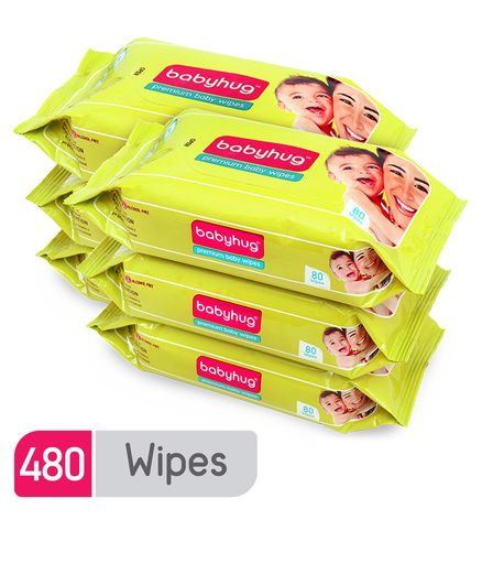 Babyhug Premium Baby Wipes - 80 Pieces (Pack of 6)