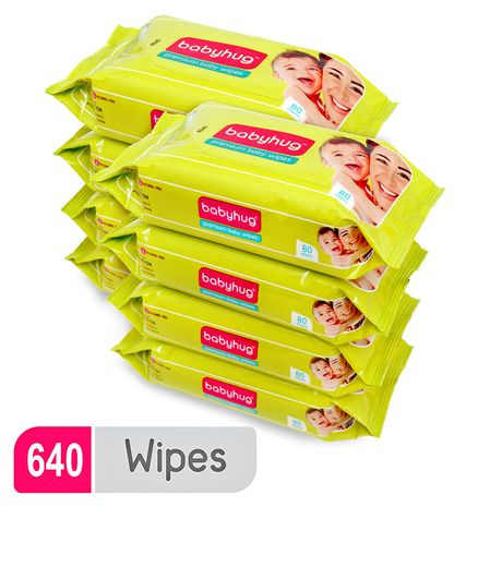 Babyhug Premium Baby Wipes - 80 Pieces ( Pack of 8 )
