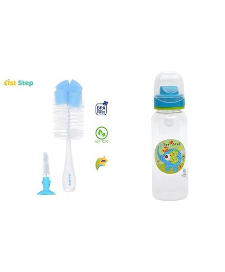1st Step 2 in 1 Bottle & Nipple Cleaning Brush with Anti-Colic Polypropylene BPA Free Feeding Bottle - 125 ml -Blue