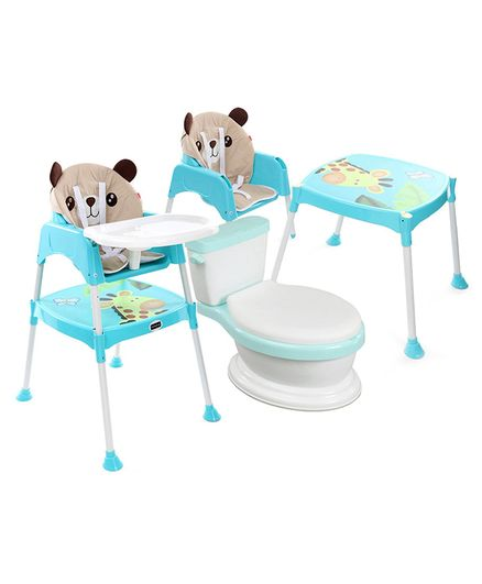 Babyhug Western Potty Chair  AND Babyhug 3 in 1 Play & Grow High Chair With 5 Point Safety Harness & Anti-Slip Base  (Blue)