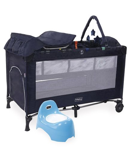 Babyhug Active Baby 3 in 1 Playpen Cum Cot With Diaper Changing Table & Mosquito Net - Navy Blue AND Babyhug Teeny Tiny Potty Chair With Lid - Blue