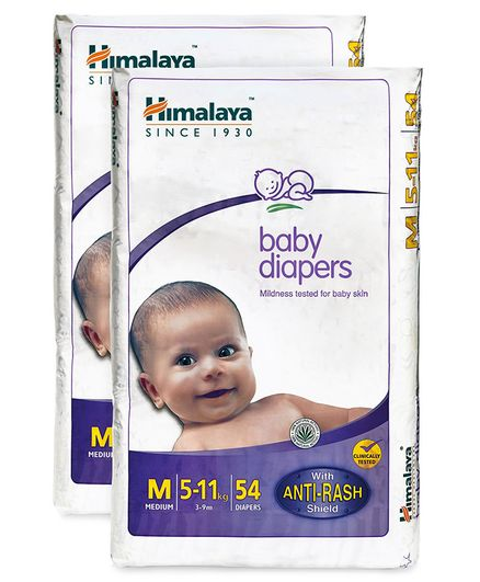 Himalaya Herbal Baby Diapers Medium - 54 Pieces  ( Pack of 2 )