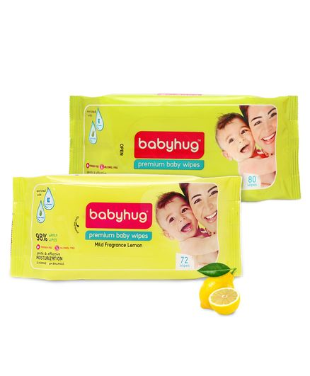 Babyhug Premium Baby Wipes - 80 Pieces & Babyhug Premium Baby Lemon Wipes - 72 Pieces