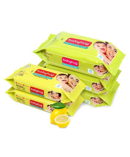 Babyhug Premium Baby Wipes - 80 Pieces (Pack of 3) & Babyhug Premium Baby Lemon Wipes - 72 Pieces (Pack of 2)