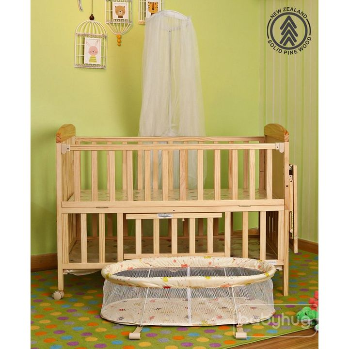Babyhug Kelly Wooden Cot With Detachable Bassinet Mosquito Net Natural Info