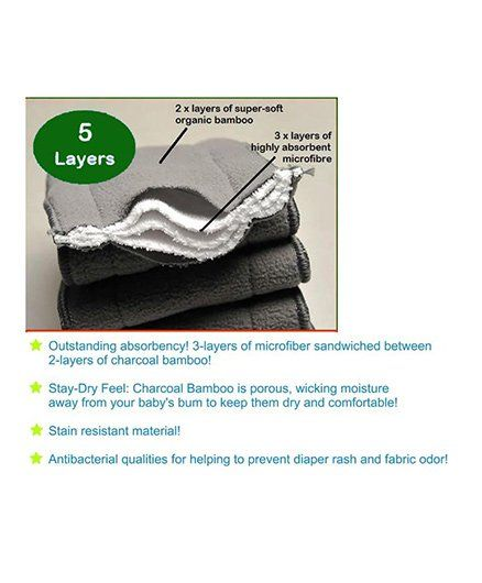 Kuhu Creations Washable 5 Layer Bamboo Charcoal Reusable Cloth Diaper  Inserts Pack Of 10 Grey Online in India, Buy at Best Price from  Firstcry com -