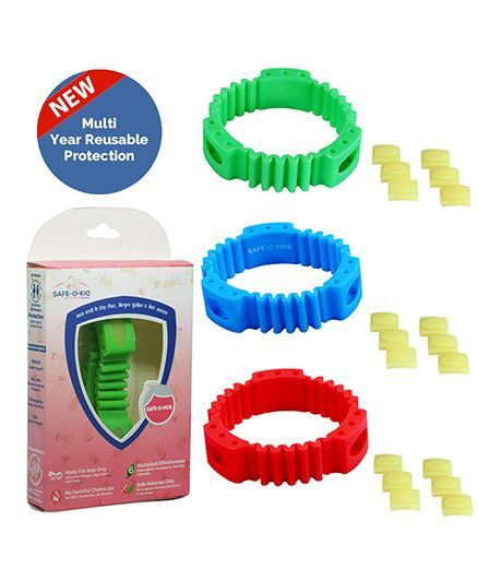 SafeOKid Mosquito Repellent Bands Triple Power Ayurvedic & Natural Red Blue  and Green Pack of 2 Online in India, Buy at Best Price from Firstcry com -