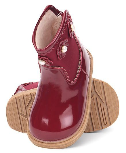 d7bff8aff59 Buy Cute Walk by Babyhug Ankle Length Boots Flower With Pearl Applique  Maroon for Girls (4-8 Months) Online, Shop at FirstCry.com - 1648036