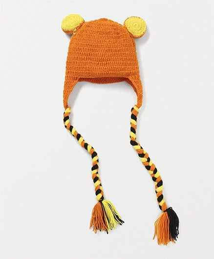 6ea6c1439 Mayra Knits Cat Design Funky Winter Cap Orange & Yellow Online in India,  Buy at Best Price from Firstcry.com - 1802997