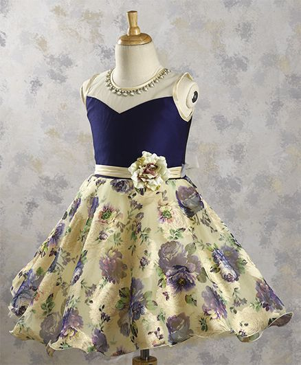 945a819fe13 Buy Bluebell Floral Party Dress With Attached Neckpiece Navy Cream for  Girls (3-4 Years) Online in India