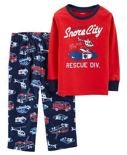 676898b2c Buy Carters 2Piece Cotton   Fleece PJs Red for Boys (4-5 Years ...