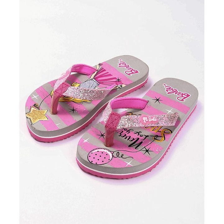 2a98b213320760 Buy Barbie Flip Flops Pink   Grey for Girls (4-4 Years) Online