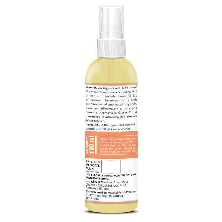 AromaMusk Organic & Pure Cold Pressed Castor Oil 100 ml Online in