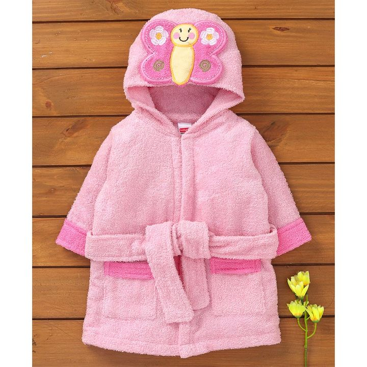 Buy Babyhug Full Sleeves Hooded Bath Robe Butterfly Patch Pink for Girls  (2-3 Years) Online in India ea6a66147