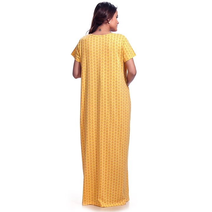 1bcff3d6e84c4 Kriti Half Sleeves Printed Maternity & Nursing Nighty Yellow Online in  India, Buy at Best Price from Firstcry.com - 2518793