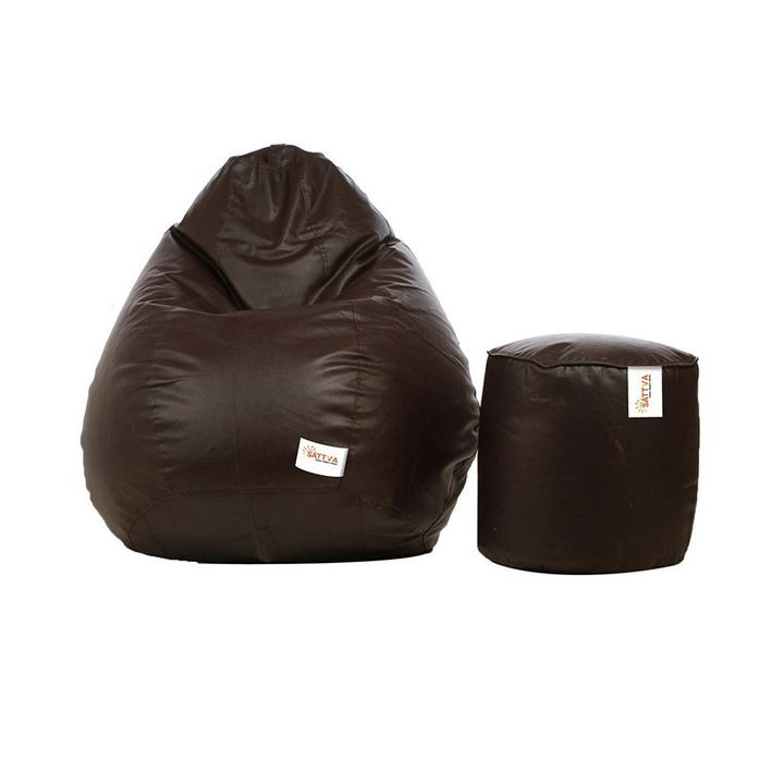 Surprising Sattva Combo Bean Bag Cover Round Footstool Cover Without Beans Xl Brown Info Theyellowbook Wood Chair Design Ideas Theyellowbookinfo