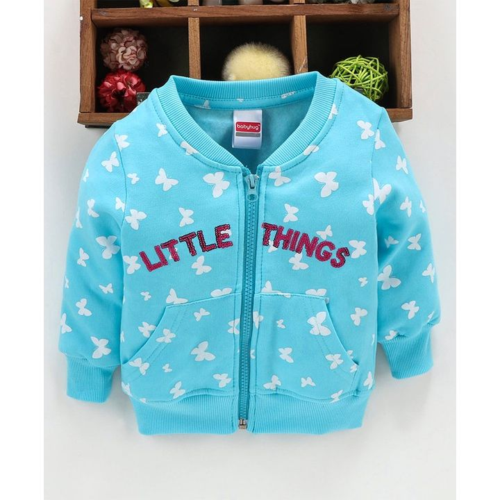 Babyhug Full Sleeves Sweatjacket Sea Green +info 6 to 9 Months, warm round neck front open style sweatjacket with cross pockets for girls