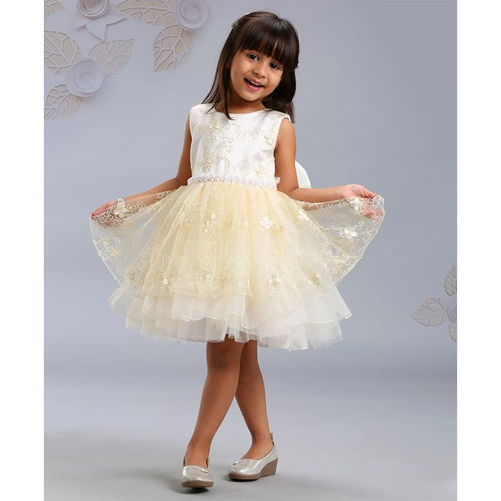 02d9ce911c91 Buy Mark & Mia Sleeveless Floral Embroidered Party Frock Off White for  Girls (2-3 Years) Online in India, Shop at FirstCry.com - 2780106
