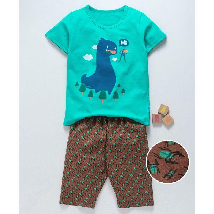 9873593137 Buy Kookie Kids Half Sleeves Night Suit Dino Print Sea Green Brown for Boys  (4-5 Years) Online in India, Shop at FirstCry.com - 2879056
