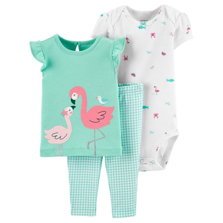 NEW NWT Carters Baby Girls 2 pack rompers 6 months flamingo//gingham green