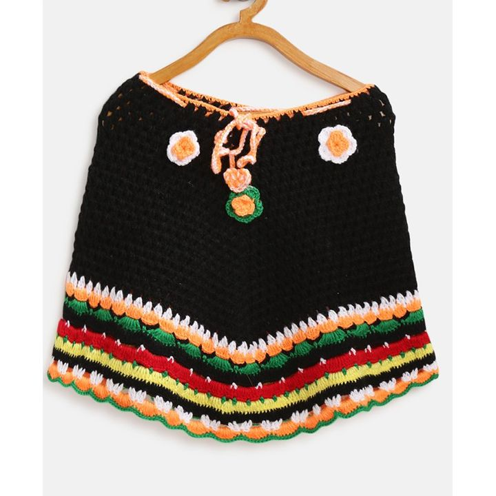 MayRa Knits Flower Detailed Full Sleeves Poncho - Black +info