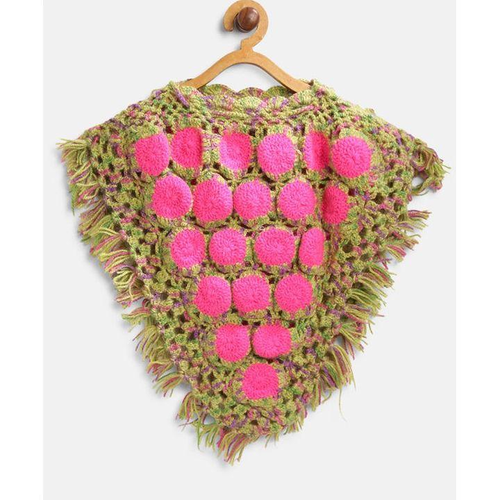 MayRa Knits Circle Pattern Short Sleeves Poncho - Pink & Brown +info