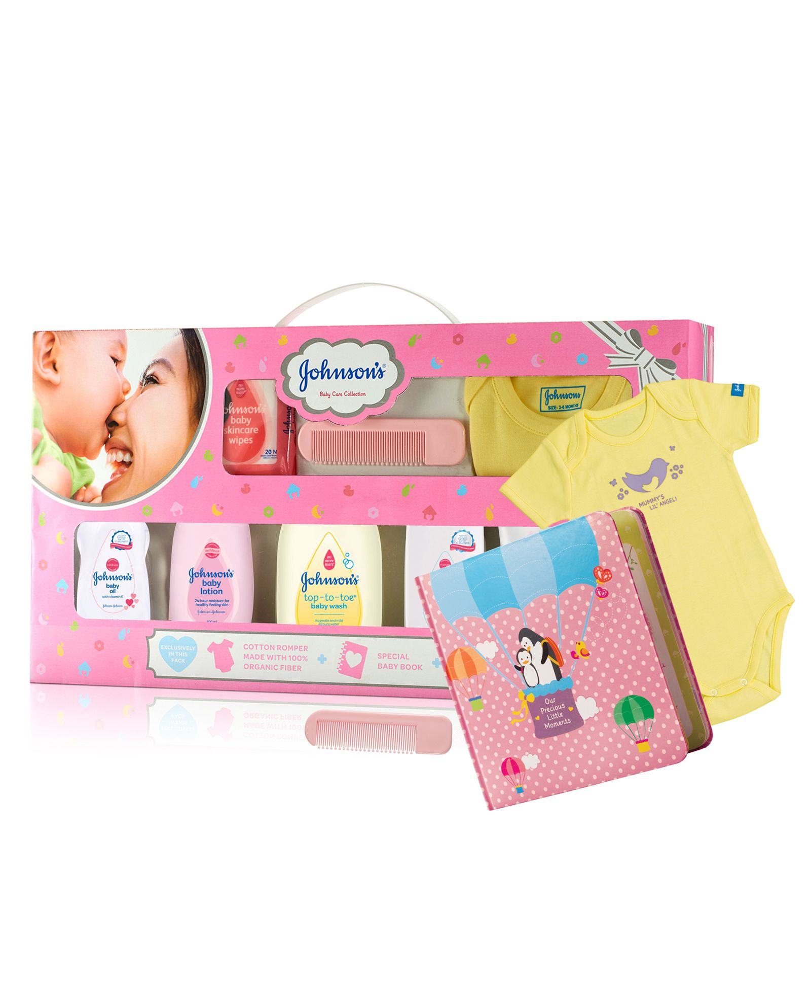 Johnsons baby Care Collection With Organic Cotton Baby Romper & Milestone  Book 11 Gift Items for Both (0-24 Months) Online in India, Buy at