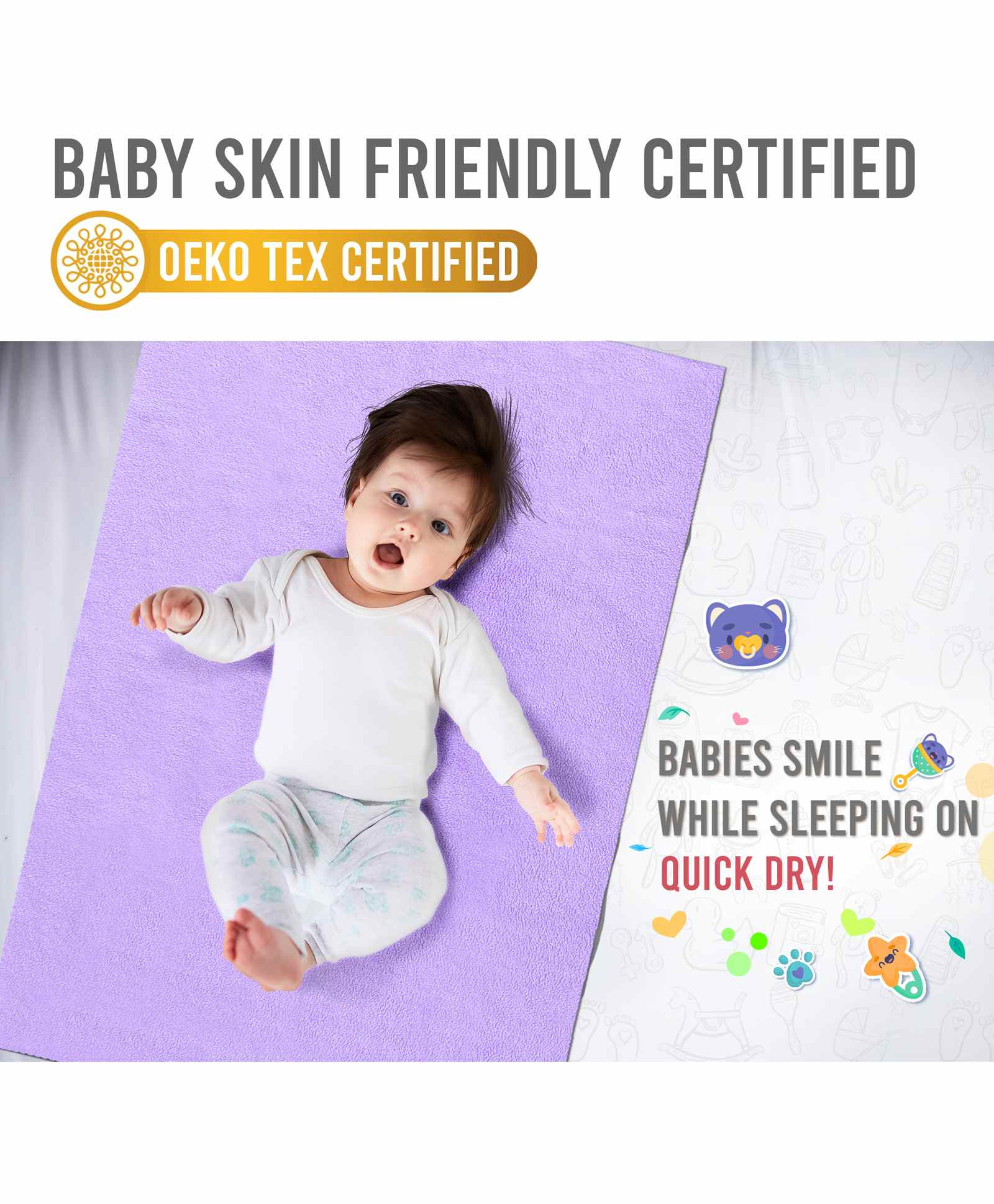 Quick Dry Bed Protector Lilac Large Online in India, Buy at Best Price from  Firstcry com - 12644