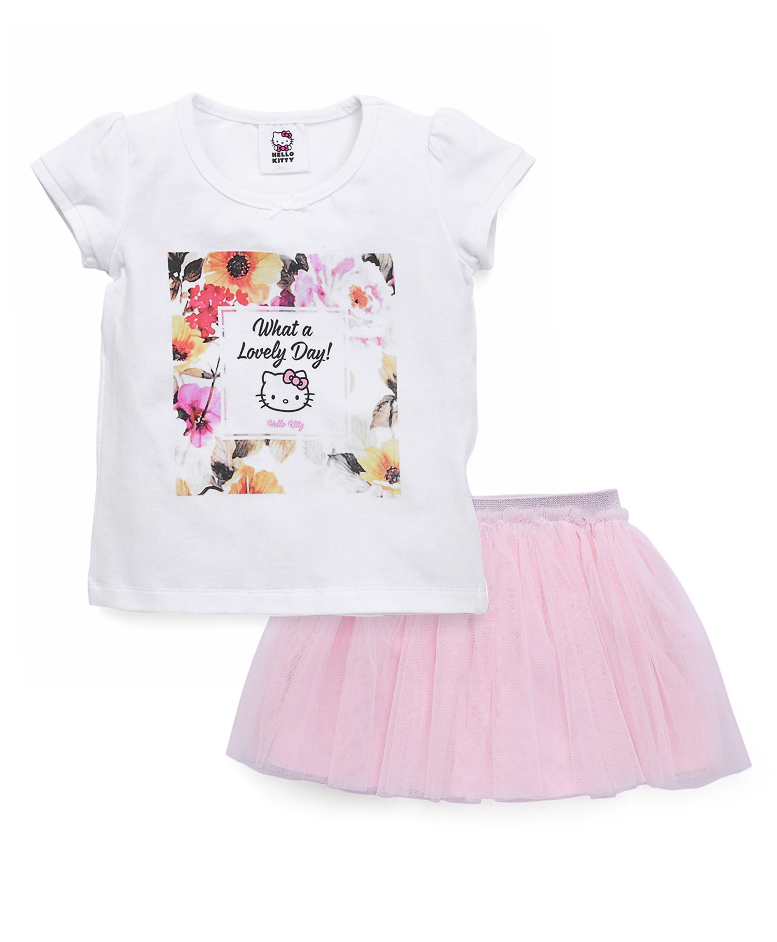 ba6d5ca8a Fox Baby Short Sleeves Top And Skirt Set Hello Kitty Print - White & Pink