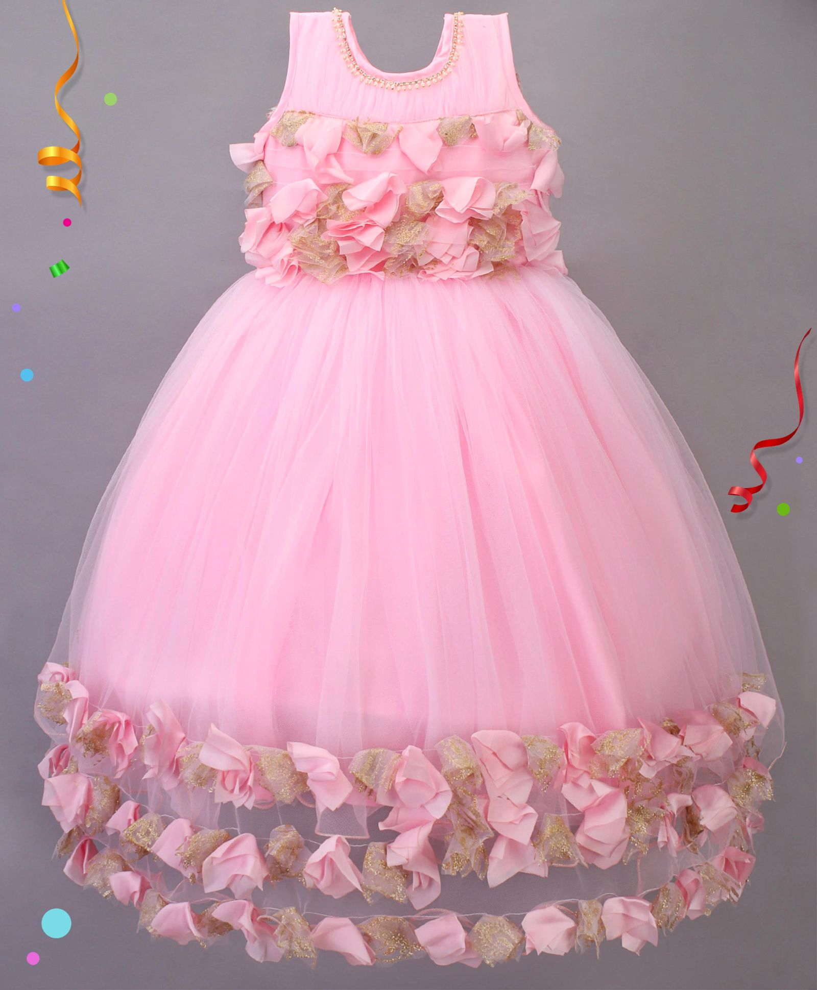 a9bcf2cdeb3 Buy Babies Flower Design Party Wear Gown Pink for Girls (2-3 Years ...