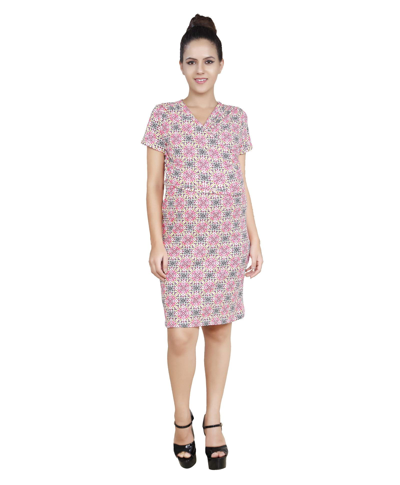 2dff38e9706 Blush 9 Knee Length Printed Maternity Dress White   Pink Online in ...