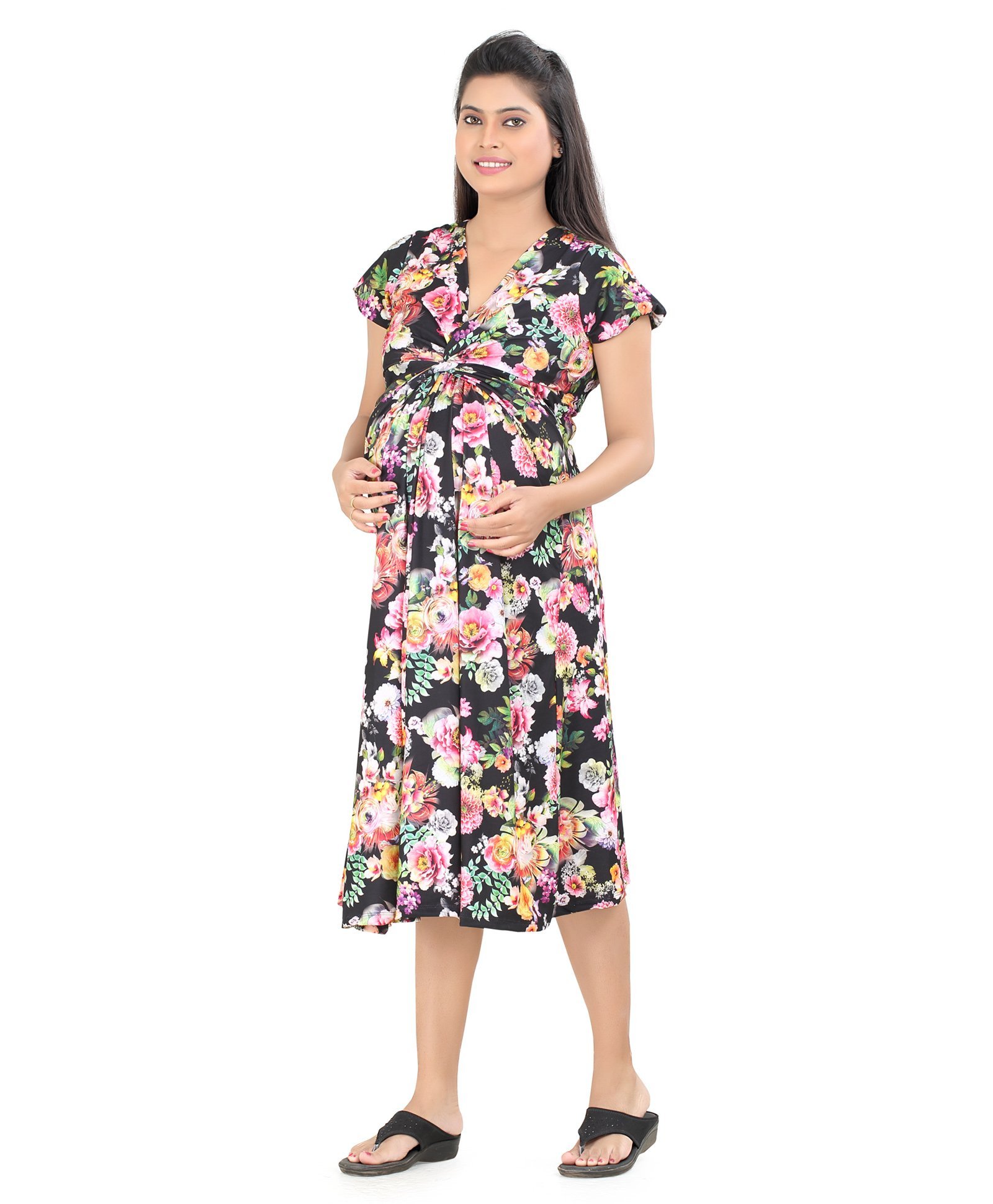 42c431e0c22fc Uzazi Short Sleeves Maternity Dress Floral Print Black Online in India ...