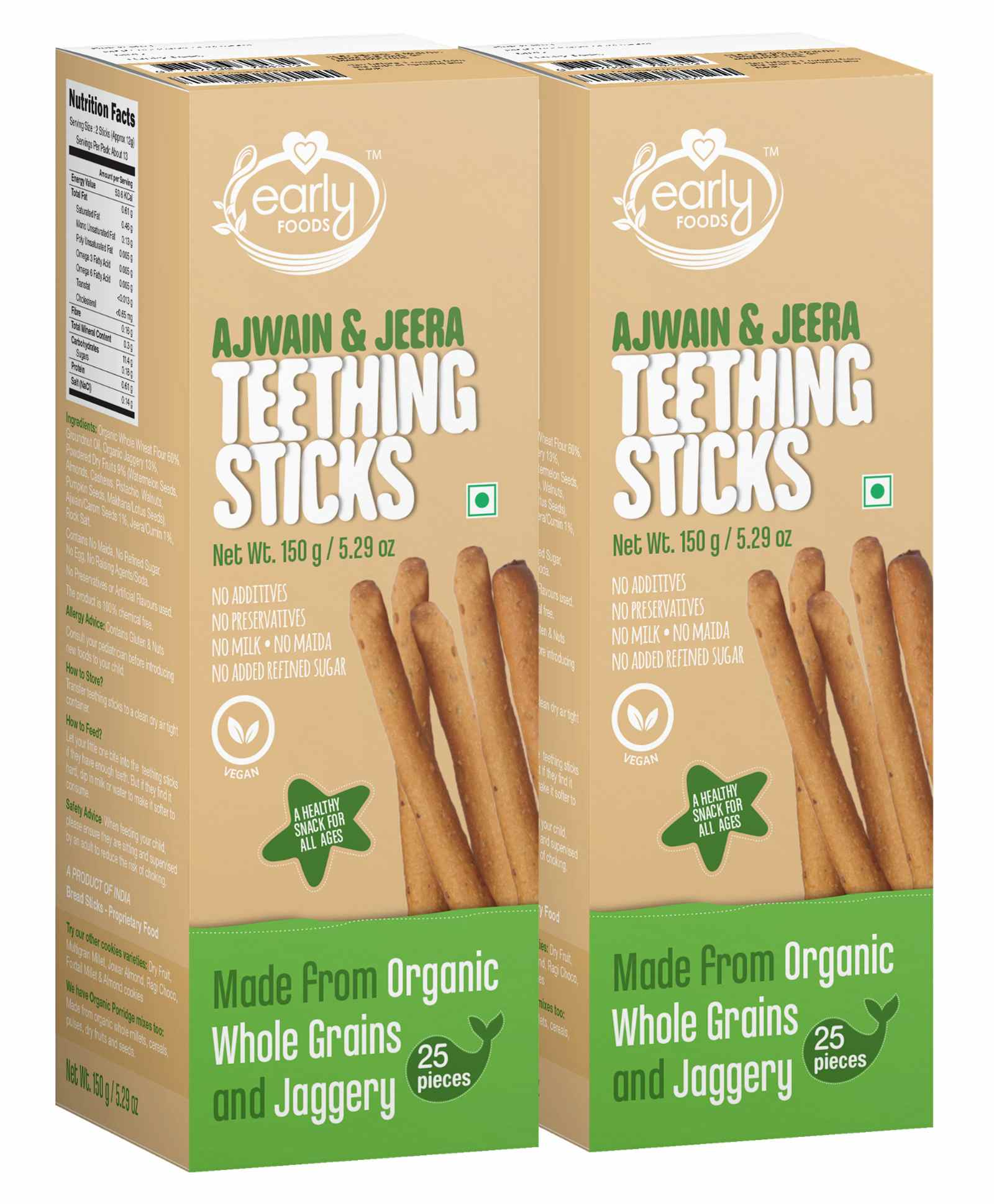Early Food Whole Wheat Ajwain Jaggery Teething Sticks Pack Of 2 150 Gm Each Online In India Buy At Best Price From Firstcry Com 1588183